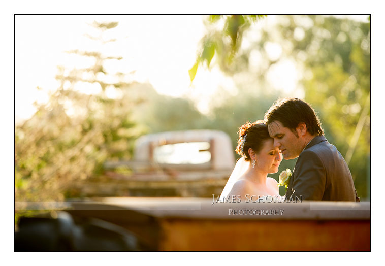 sublime golden lighting bridal couple wedding tractor