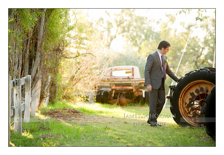 wedding photography at Belvoir tractor groom